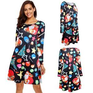 Christmas-Cartoon-Pattern-Long-Sleeve-A-line-Dress-Women-Vintage-Party-Dressess
