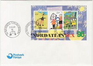 Faroe-Islands-1996-Nordatlantex-Childrens-Art-Mini-Sheet-First-Day-Cover