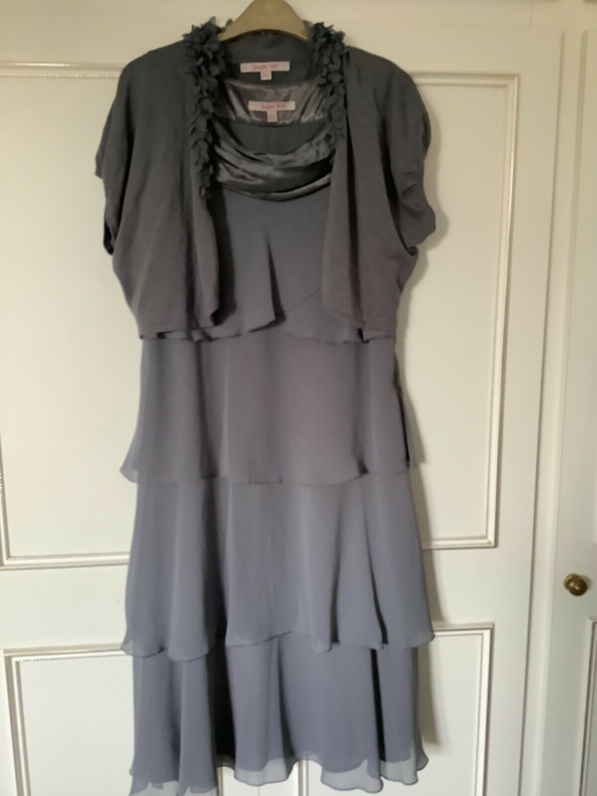 Jacques Vert Size 12 Grey Tiered Dress And Matching Shrug Wedding/Occasion