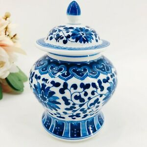 Vintage-Chinese-Blue-And-White-Porcelain-Ginger-Jar-With-Lid-Made-In-China-6-034