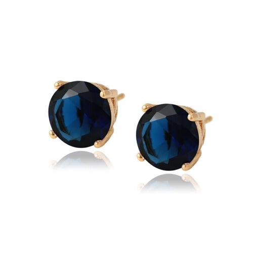 Elegant CZ Rhinestone Crystal Ear Stud Earrings Big 18K Gold Colour