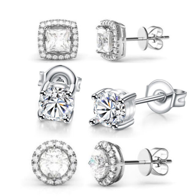 3 Pack Stud Earrings Made with Swarovski Crystal 18K White Gold with Gift Box