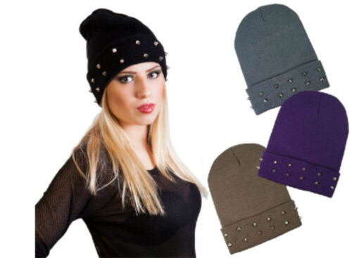Ladies Chrome Studded Knitted Beanie Hat Stud Spike Goth Punk Adults Winter Cap