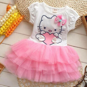 a475080484dae Details about New 2018 Girl Dresses hello kitty Princess Dresses baby tutu  dress Free Shipping