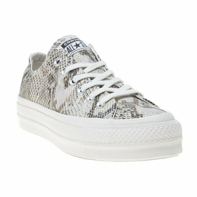 New Womens Converse Natural Multi All Star Lift Ox Canvas Trainers Lace Up