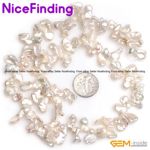 "Natural Baroque Top Drilled Reborn Keshi Biwa Pearl Beads For Jewelry Making 15/"""