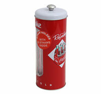 Vintage Style Coca Cola Coke Tin Drinking Straw Holder 50 Straws Included Kitchen