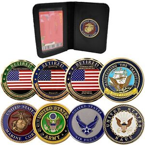 Details about Military Challenge Coin ID Wallet Medallion Document Access  Card License Holder