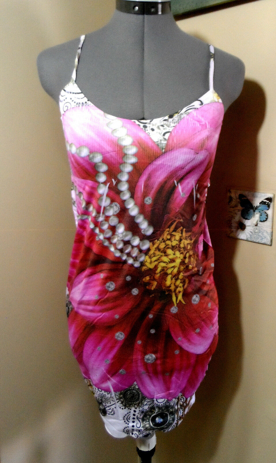 Top XS S M Floral Roses Tribal Pearl Cheetah CONVERTIBLE New F/&G Bodycon Dress
