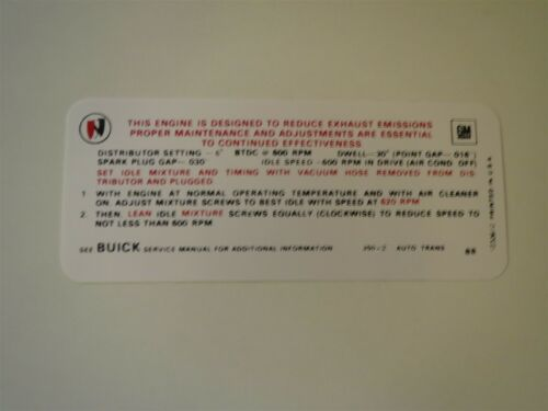 1970 BUICK SKYLARK GS SPECIAL WILDCAT 350 2V AUTO TRANS EMISSIONS DECAL NEW