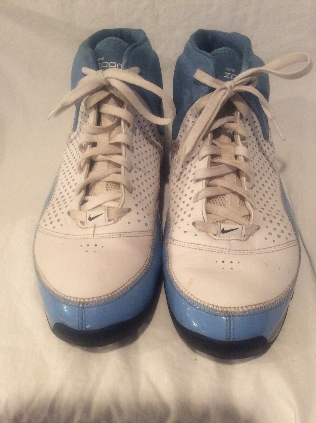 Men's Nike Zoom Blue/White High top Basketball Athletic Shoes Comfortable