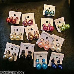 Fashion-Women-Lady-Double-Pearl-Earrings-Front-Back-Ear-Studs-Jewelry-Gift