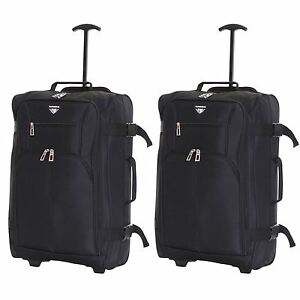 Ryanair-Easyjet-Set-of-2-Cabin-Approved-Hand-Trolley-Suitcases-Luggage-Case-Bags