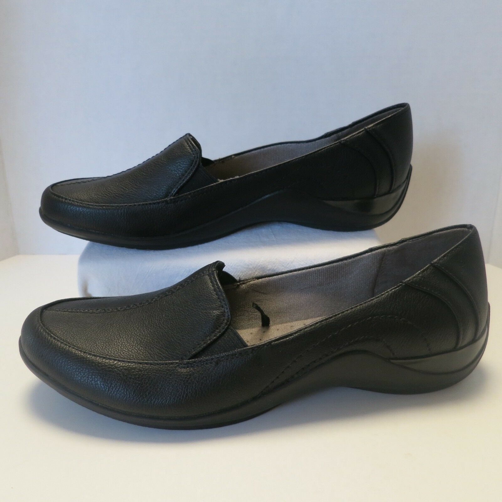 LifeStride Loafer Mada Black Bomber PU 9 Wide Women's Flats