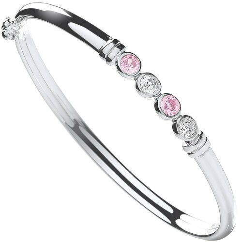 Details about  /Solid Silver Baby Bangle Pink and White Gemstones Little Girls British Made