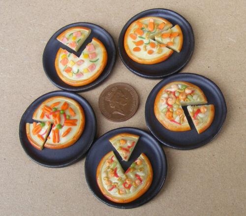 1:12 Maßstab Einzel Geschnitten Pizza auf einem Stein Platte Tumdee Puppenhaus