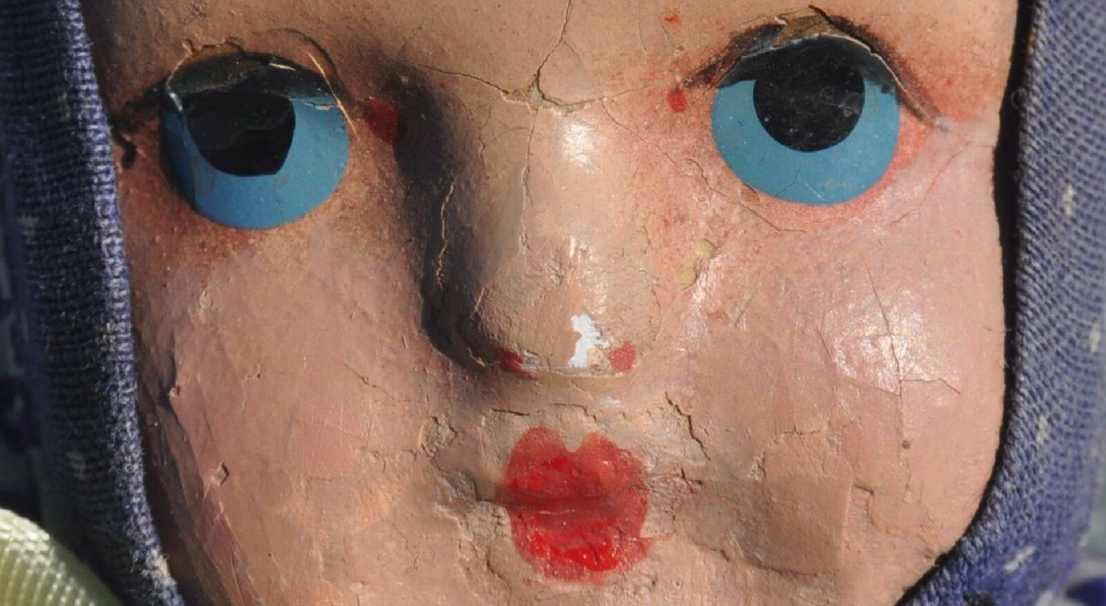 1920s Russia Russian PAPIER-MACHE FACE Sewn Fabrics Stuffed Doll Toy