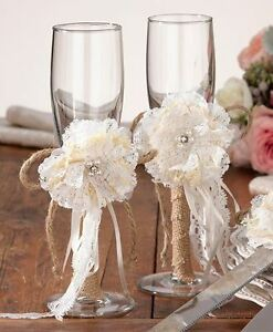 Pair of Burlap Toasting Wedding Party Wine Champagne Flutes Glasses