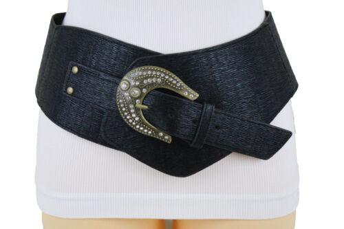 Cowgirl Women Black Wide Western Belt Fabric Antique Gold Metal Bling Buckle M L