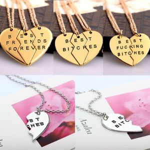 7b8174cd4a 2/3Pcs Best Bitches & Friends Forever Broken Heart Couple Pendant ...