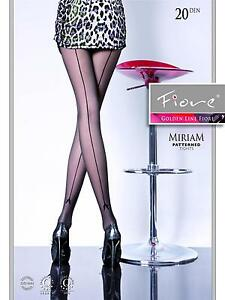 1451ac4ccaaaf4 FIORE Miriam Luxury Super Fine 20 Denier Decorative Seamed Tights | eBay