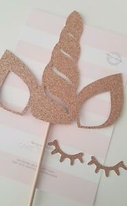 Image is loading Unicorn-Horn-amp-Ears-Rose-Gold-Glitter-with- d7a61e88588