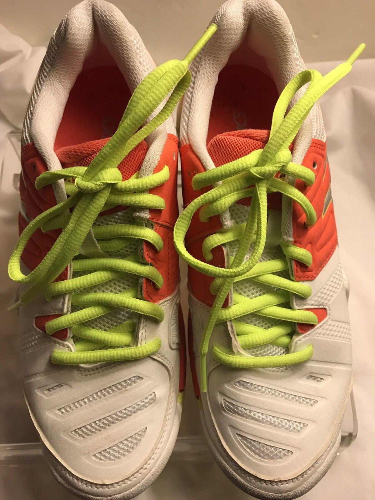 Asics Gel Challenger Tennis Court shoes Women White orange Size 5.5