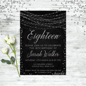 18TH-BIRTHDAY-INVITATIONS-AGE-EIGHTEEN-PERSONALISED-PARTY-SUPPLIES-INVITE-SILVER