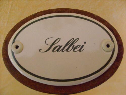 Kräuterschild Kräuterstecker Pflanzschild Emaille Emailschild Salbei 25cm