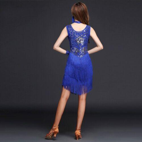 Women Dance Dress Latin Salsa Floral Dancewear Tango Fringe Ballroom Rumba Skirt