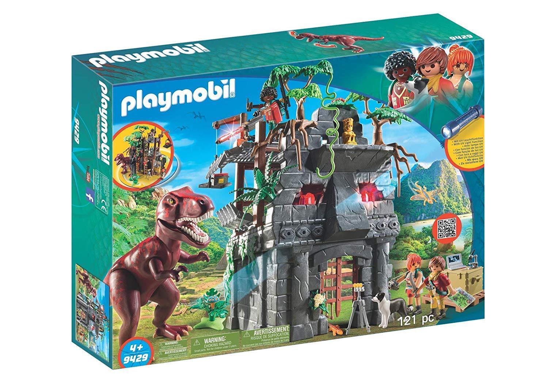 Playmobil 9429- Gran Campamento Base Dinosaurios. con T-Rex, Lampara UV y Cañon