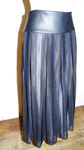 jupe-plissee-T40-42-superbe-longue-neuf-faux-cuir-et-voile-skirt-sheer-l-xl-898