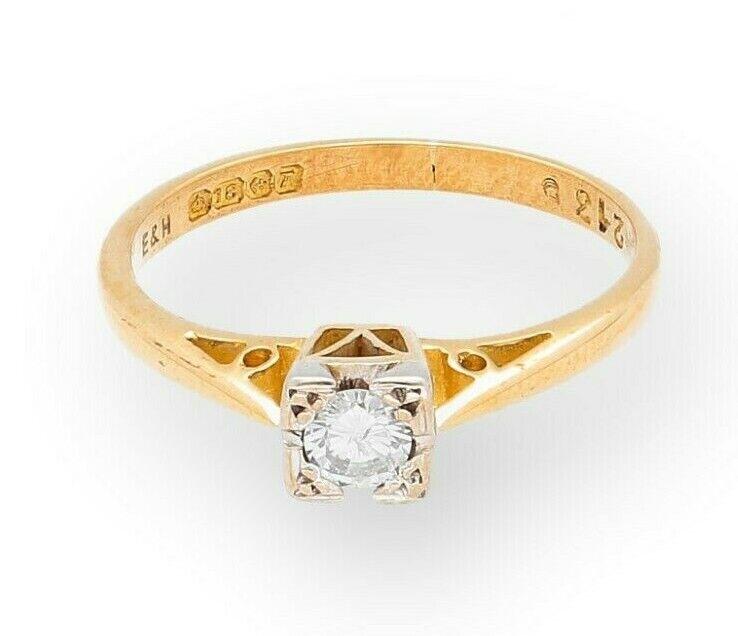 Antique Art Deco 18ct gold & Platinum (0.10) Diamond Solitaire Ring (Size L)