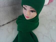 Made in Scotland Beautiful 100% LAMBSWOOL Beanie and Scarf set Shamrock Green