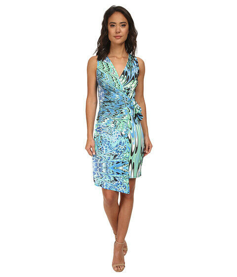 BRIGITTE BAILEY WOMEN'S TERI SLEEVELESS WRAP DRESS blueE GREEN LARGE NEW