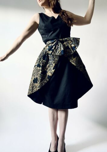 1950s over skirt vintage big bow gold sateen overs