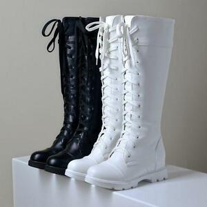 a3d71866de1 Goth Round Toe Riding Combat Shoes Womens Low Heel Lace Up Knee High ...