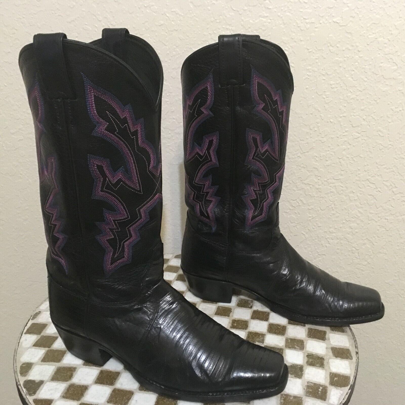 LIZARD USA JUSTIN ROCKABILLY BLACK  WESTERN COWBOY TRAIL BOSS BOOTS 9.5 D