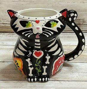 Spectrum Designz Coffee Tea Mug 3D Cat Sugar Skull Day of the Dead 16oz New