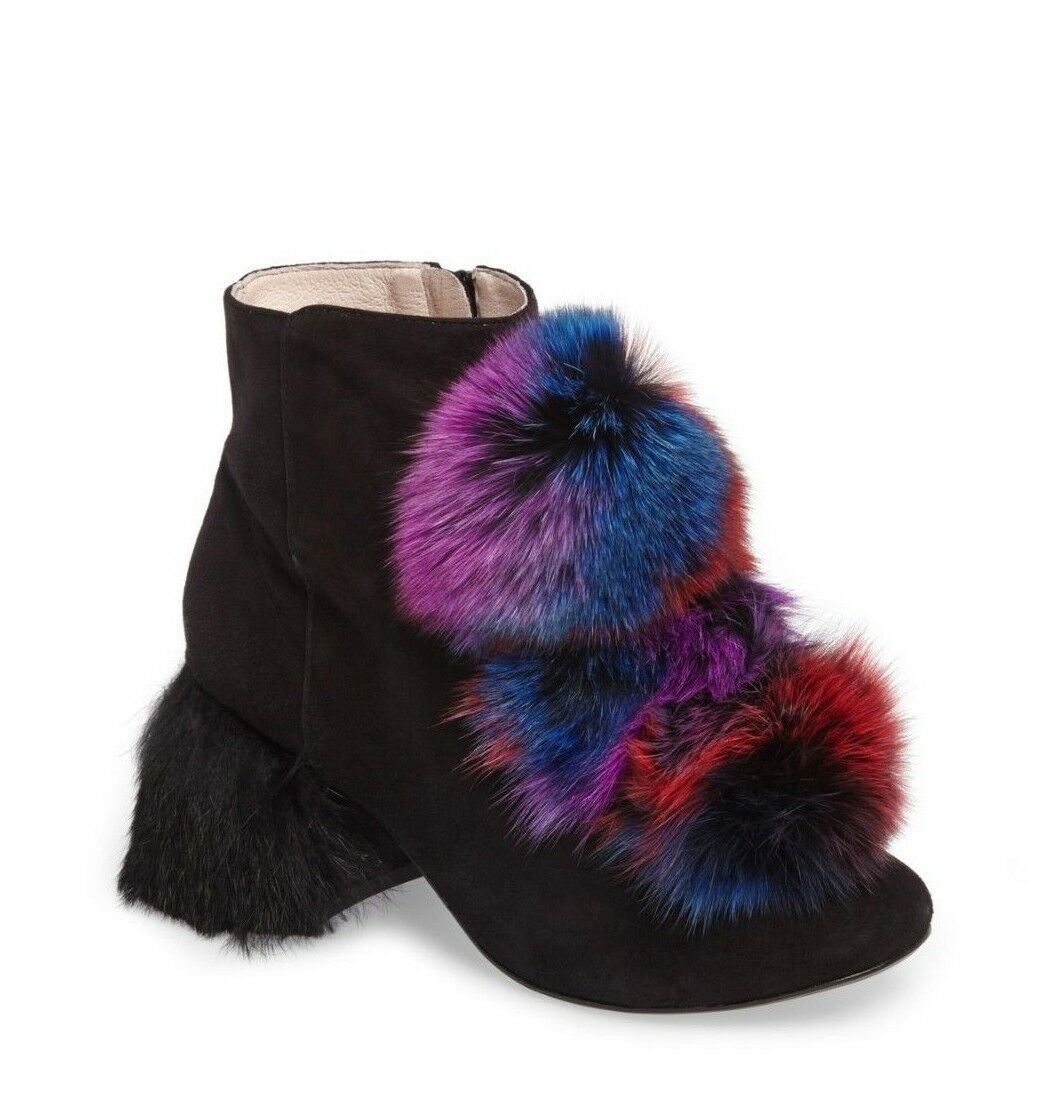 Cecelia New York Womens Minot Genuine Fox Fur Pompom Bootie Ankle Leather Size 6
