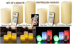 Remote-Control-Colour-Change-Wax-Candles-6-Party-Wedding-Candle-w-Timer-Flame
