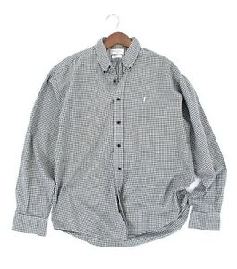 90-s-YSL-YVES-SAINT-LAURENT-SHIRT-GRAY-CHECKED-BUTTON-UP-FRONT-PINK-LOGO-SIZE-L