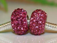 Raspberry Pink CZ Kristalle 925 Sterling Silber versilbert Bead Beads Charms