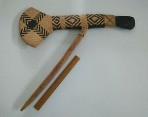Papua New Guinea PNG Mt Hagen ceremonial wooden axe with stone head (#3)