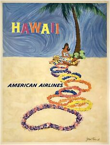 Original Vintage Poster AMERICAN AIRLINES HAWAII Airline Travel Tourism Beach OL