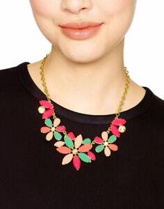 Pink and Spring Green Gold Leaf Floral Pendant