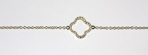 Clover Bracelet with Diamond in 14k Yellow Gold Dia 0.08cts