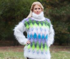 FUZZY Mohair Sweater Dress Turtleneck Neon Jumper Fetish Sweater Hand Knitted