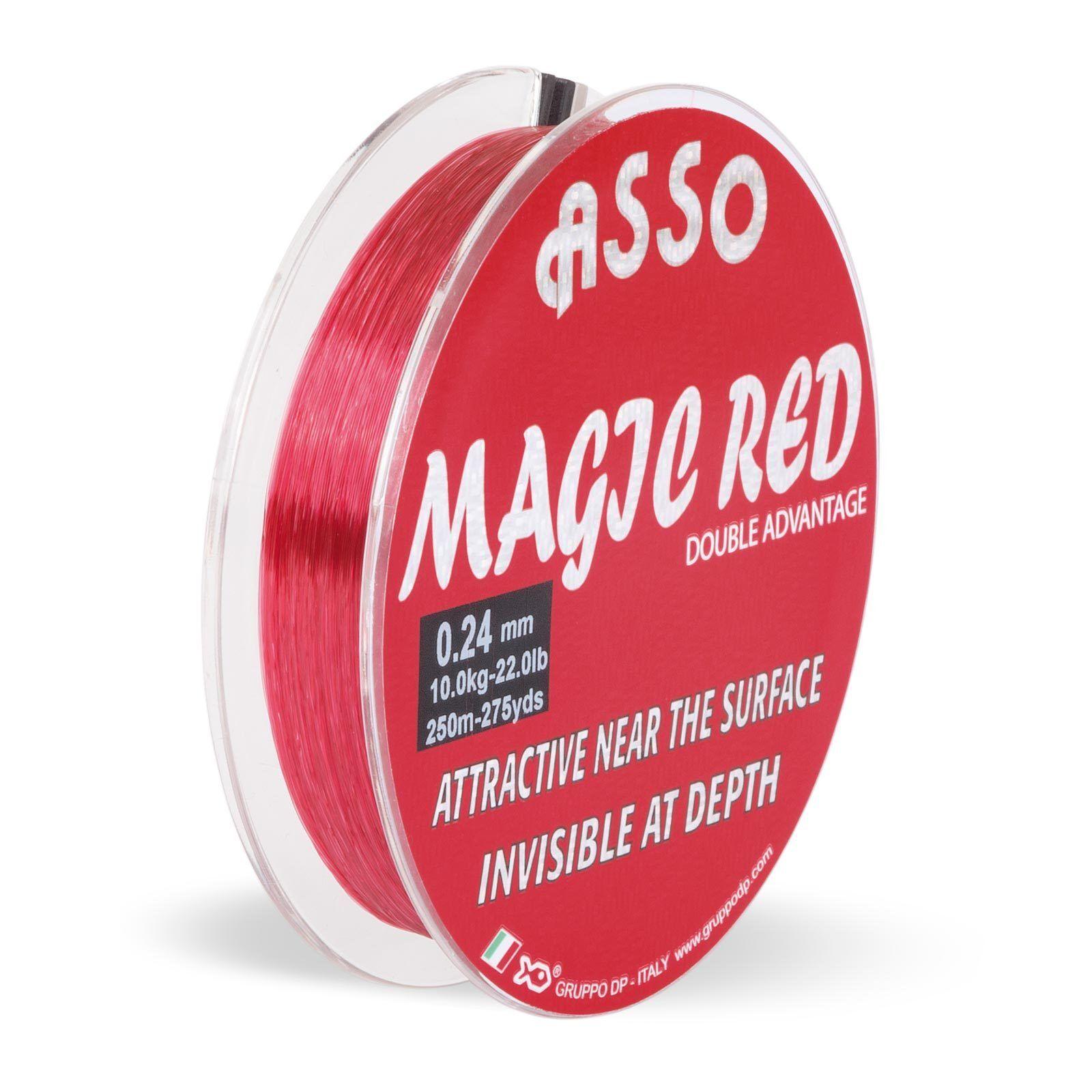 (0,05EUR m) ASSO Angelschnur Monofil Profi Magic rot Mono 1000m 0,32mm 9,40kg
