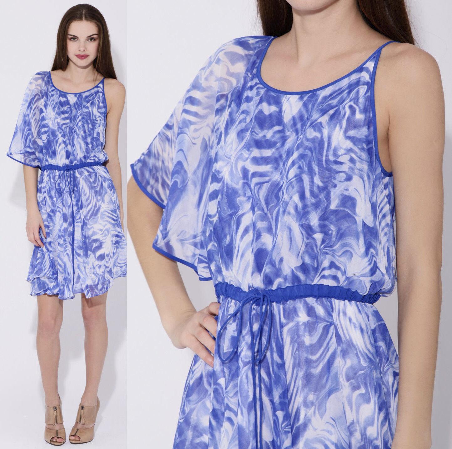 295 Cynthia Steffe Annalisa One Shoulder Dolman Silk Blau Wave Print Dress